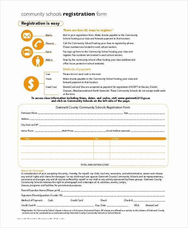 School Registration forms Template Elegant 8 Sample Registration forms – Pdf Word