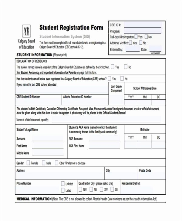 School Registration forms Template Fresh 7 Student Registration form Samples Free Sample