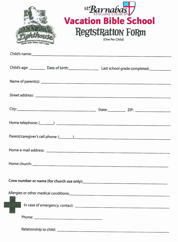 School Registration forms Template Inspirational Church forms Templates – Flybymedia