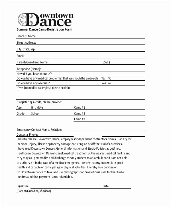 School Registration forms Template Inspirational Dance School Registration form Template Free Sample Summer