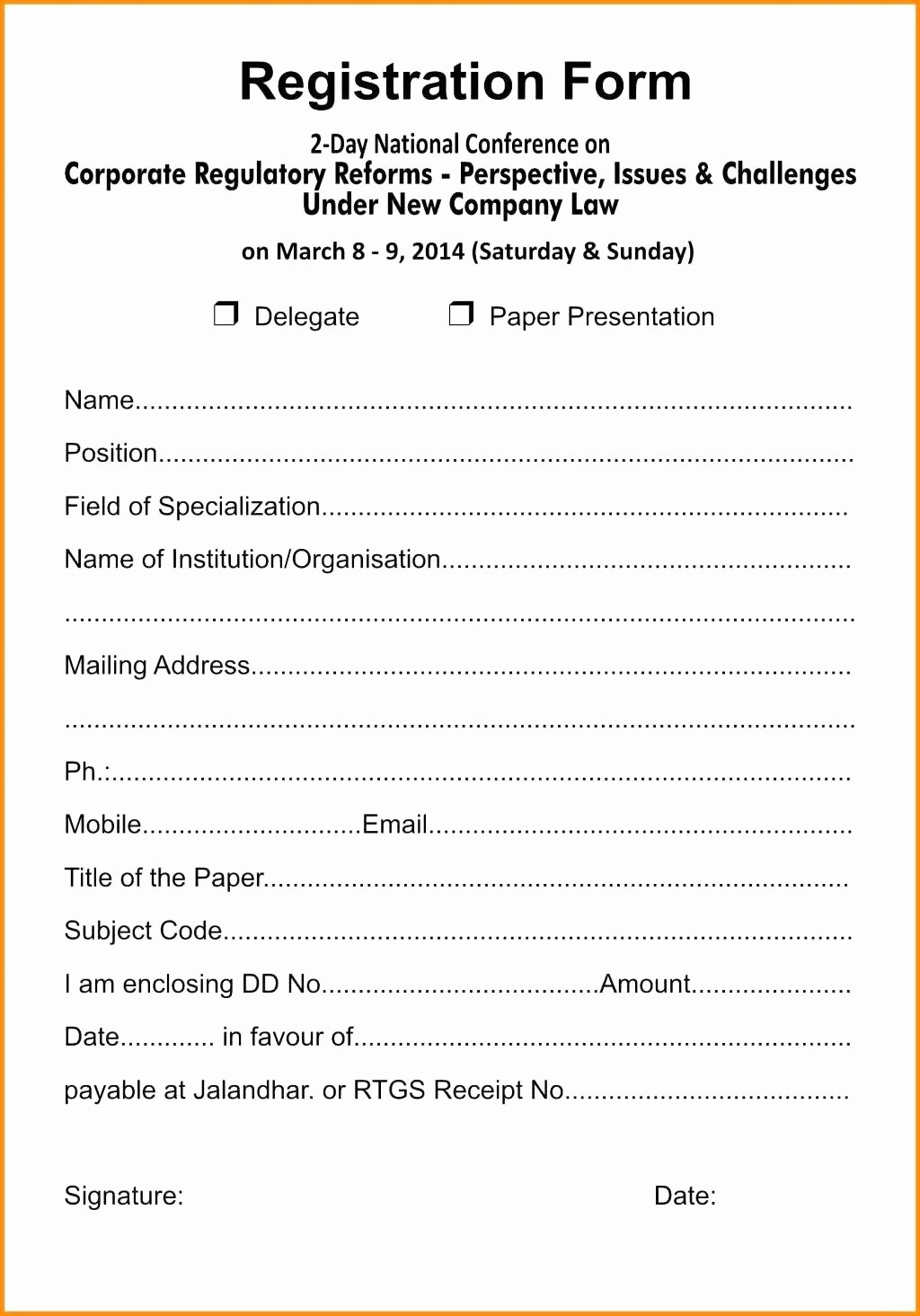 School Registration forms Template Lovely Template Sample Conference Registration form Template