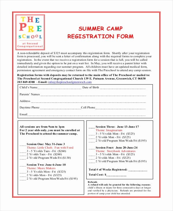 School Registration forms Template Luxury Sample Summer Camp Registration form 10 Free Documents