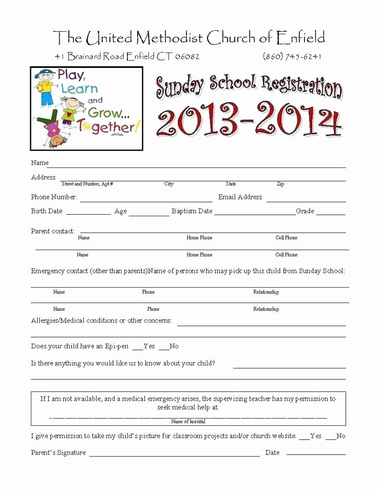 School Registration forms Template New Preschool Registration form Template Free Enrollment