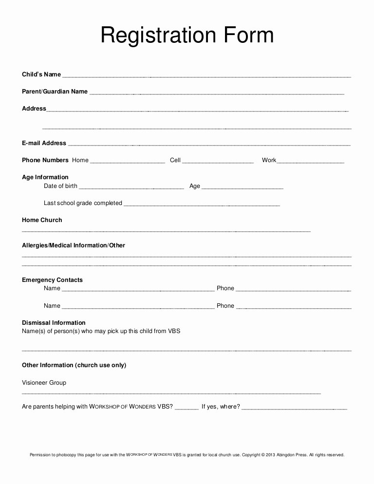 School Registration forms Template Unique Registration form Vbs