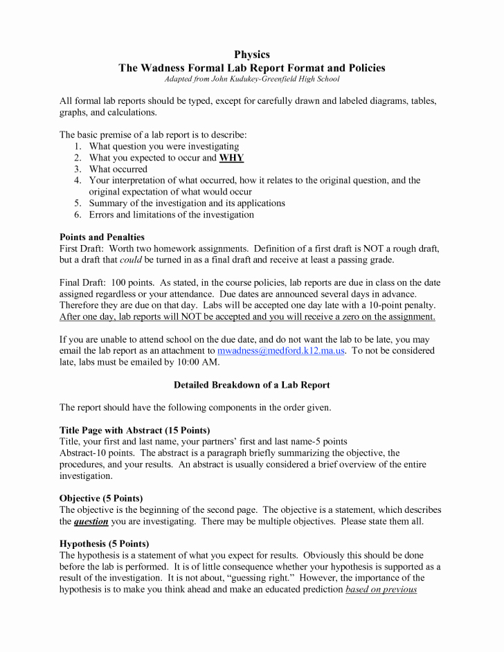 Scientific Lab Report Template Elegant formal Lab Report Template Physics Biological Science