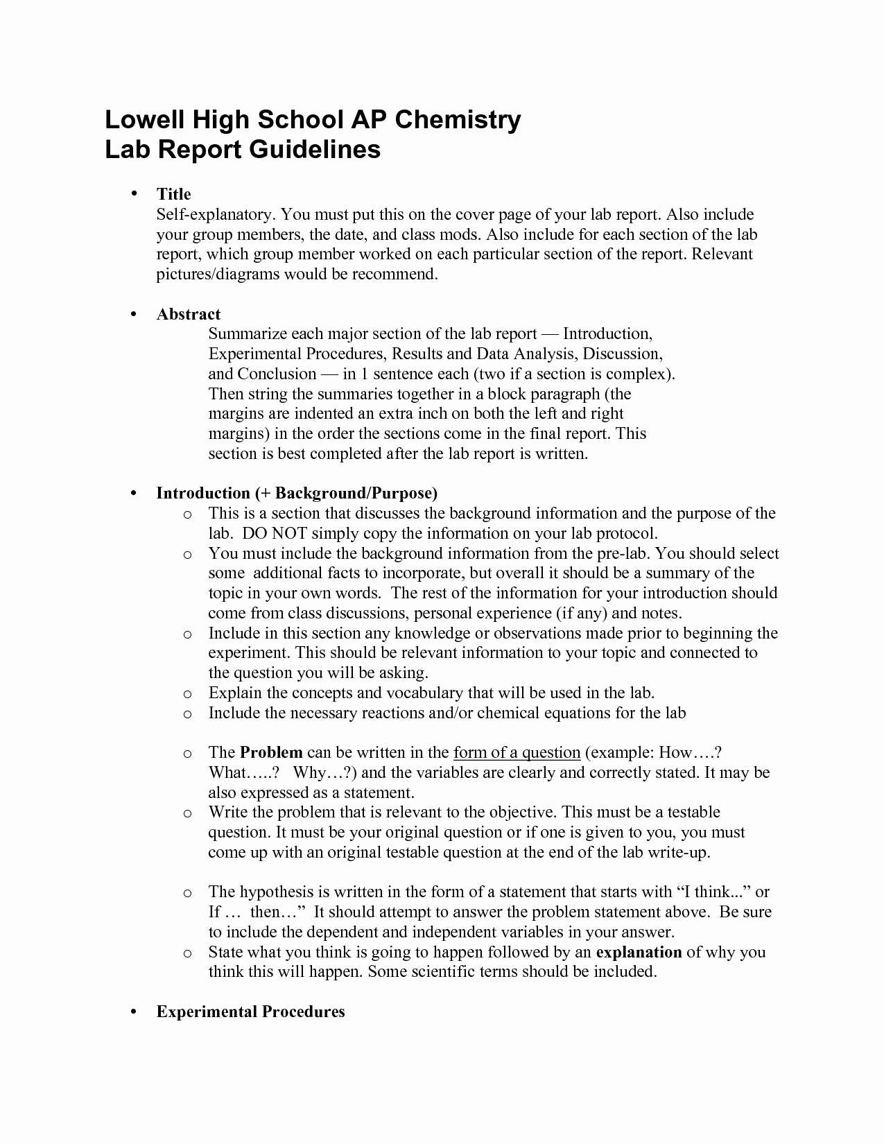 Scientific Lab Report Template Fresh Lab Sample Science Lab Report by Cheryl Randall Example