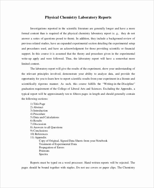 Scientific Lab Report Template New 9 Lab Report Templates Free Sample Example format