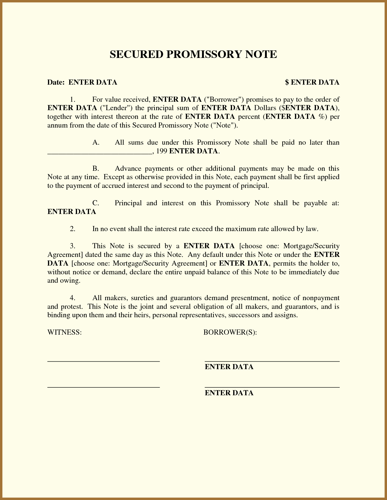 Secured Promissory Note Template Pdf Awesome Free Promissory Note Template Word Pdf