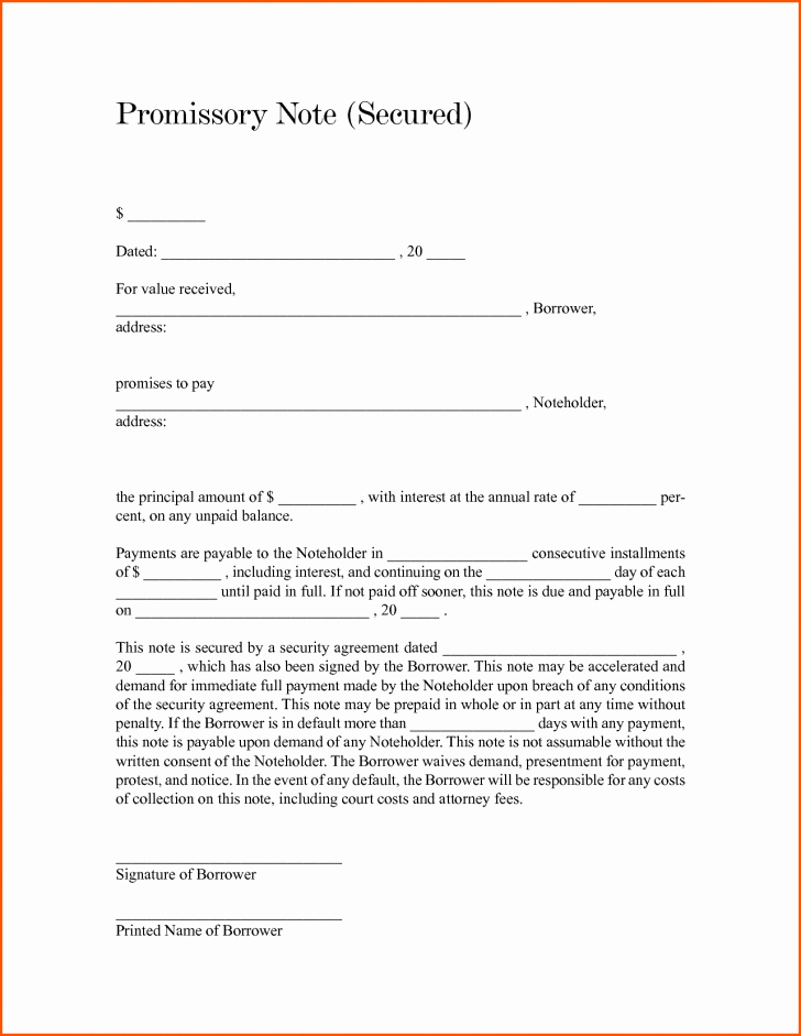 Secured Promissory Note Template Pdf Inspirational Promissory Note Template Word Templates Trakore Document