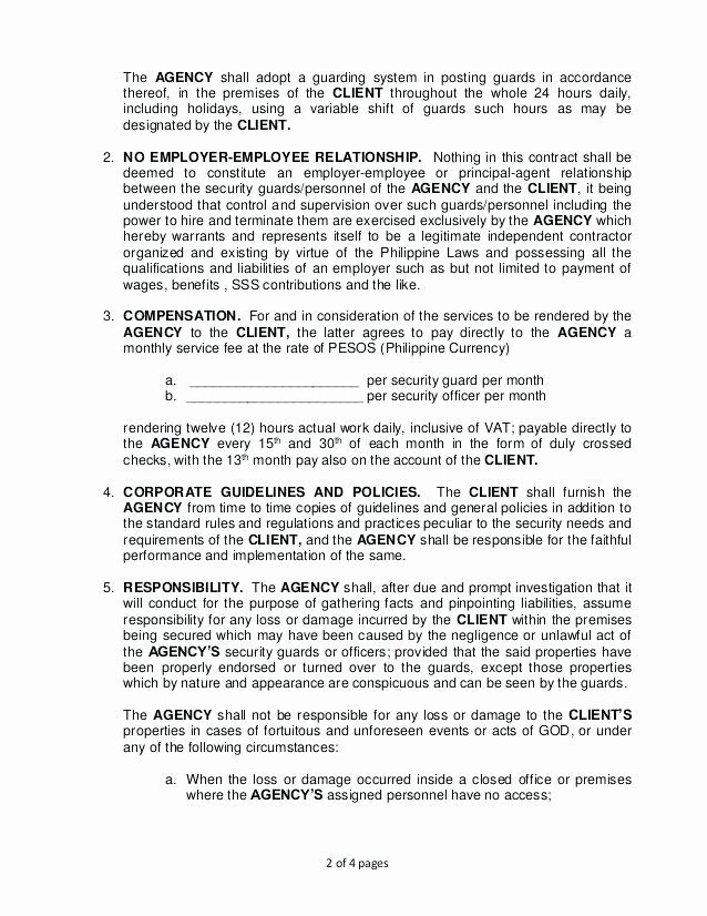 Security Guard Contract Template Awesome Security Guard Service Contract Sample Termination Letter