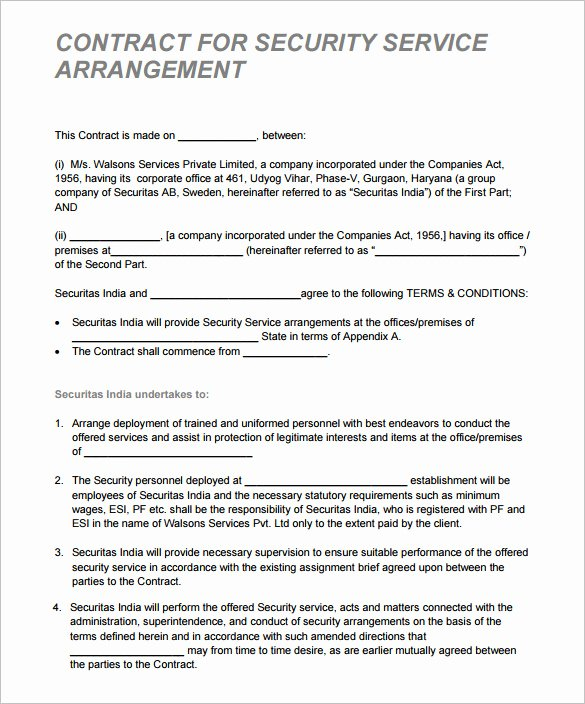 Security Guard Contract Template Beautiful 12 Security Contract Templates Doc Pdf
