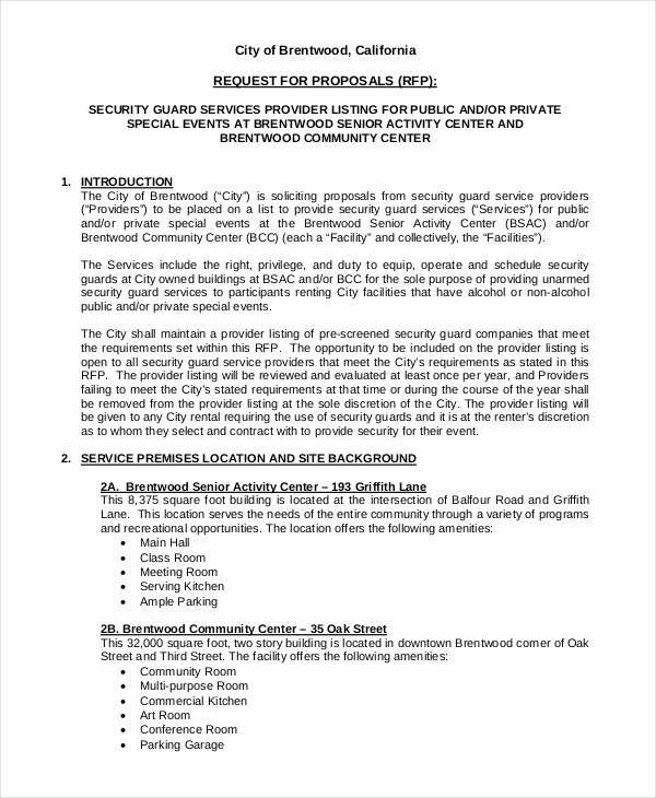 Security Guard Contract Template Best Of 10 Security Proposal Examples & Samples