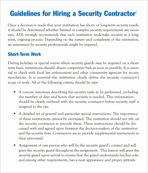 Security Guard Contract Template Elegant 12 Security Contract Templates Doc Pdf