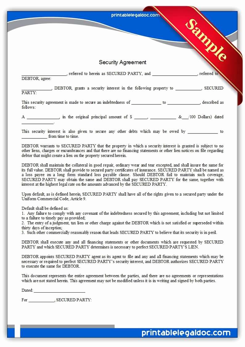 Security Guard Contract Template Elegant 50 Special Security Agreement form Fo V