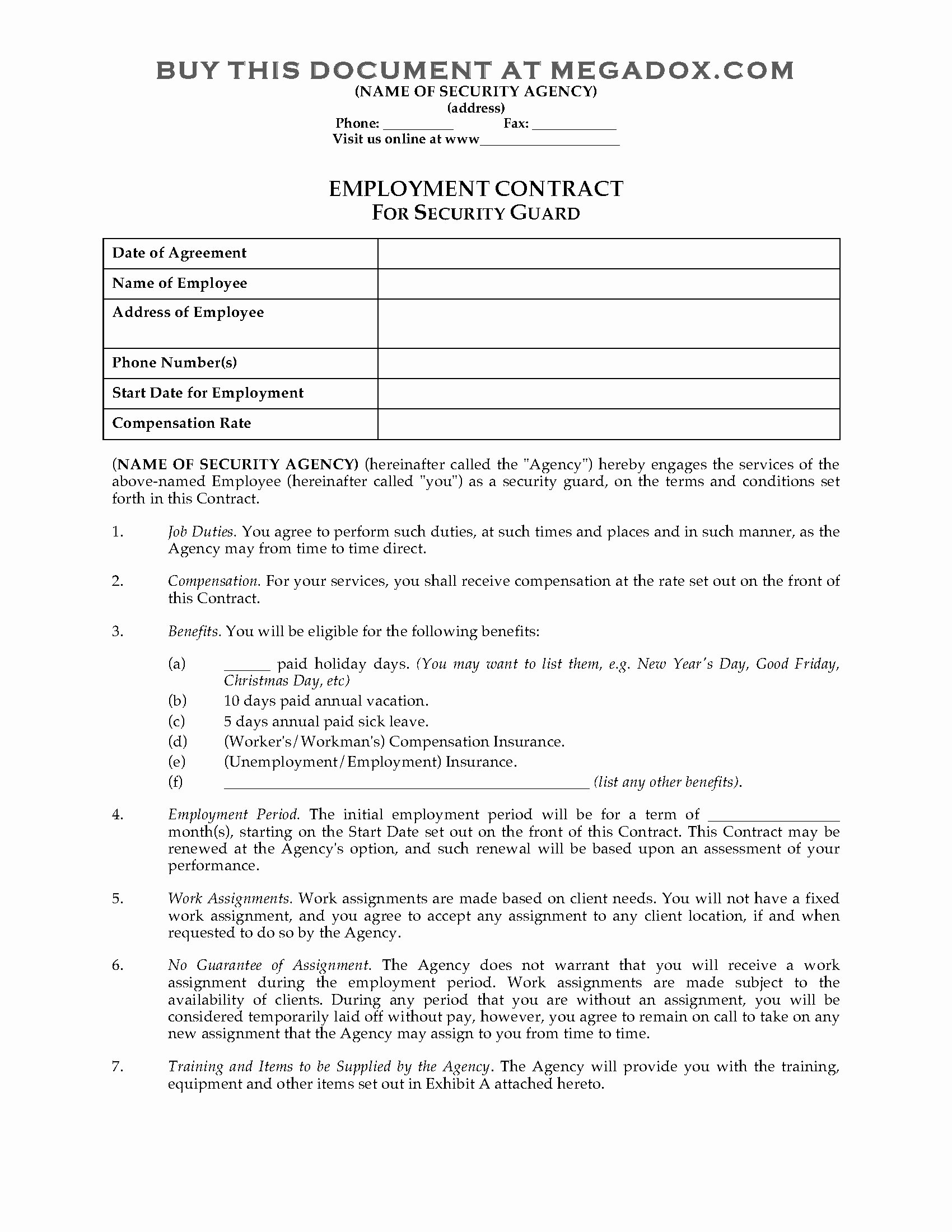 Security Guard Contract Template Fresh Security Guard Employment Contract