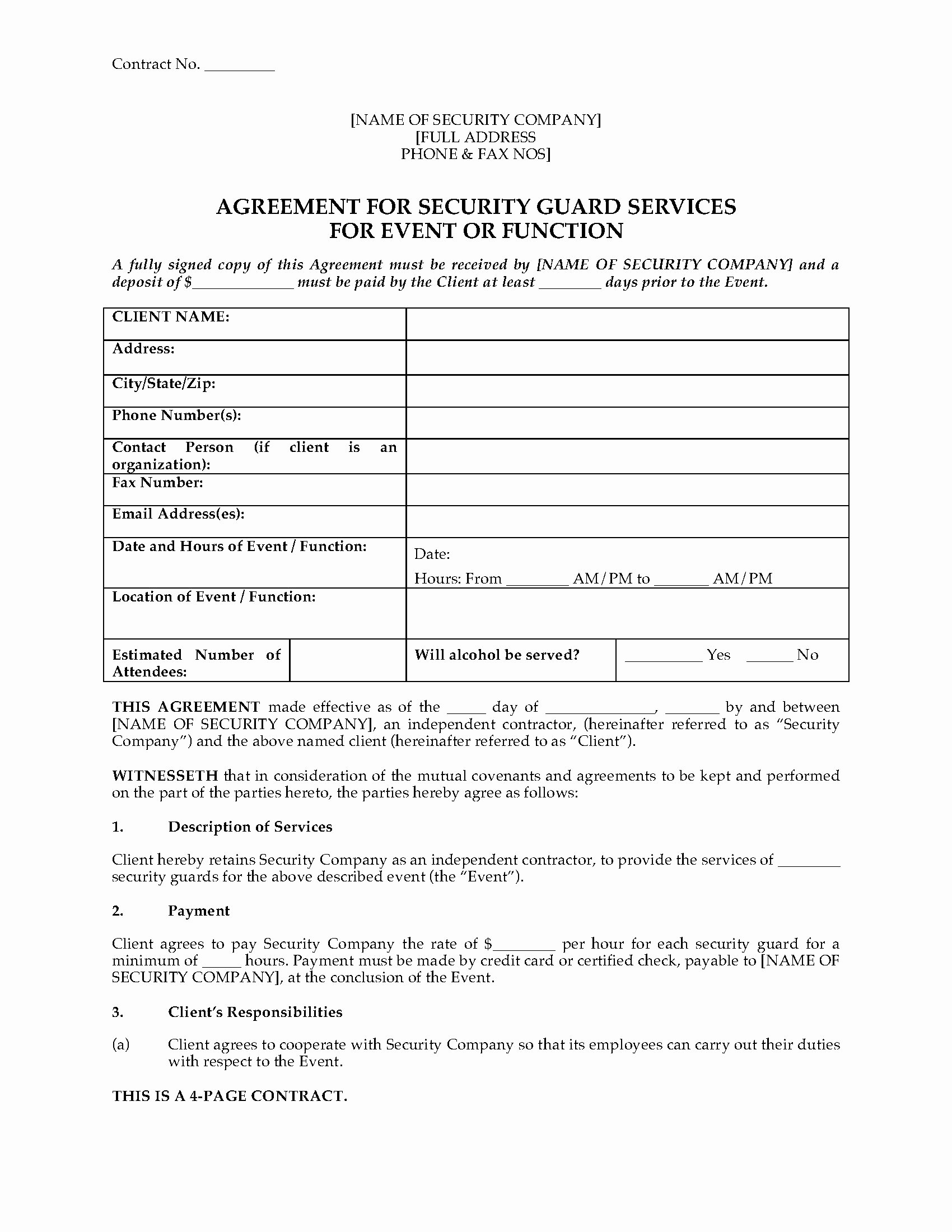 Security Guard Contract Template Inspirational Usa Security Guard Agreement for event or Function