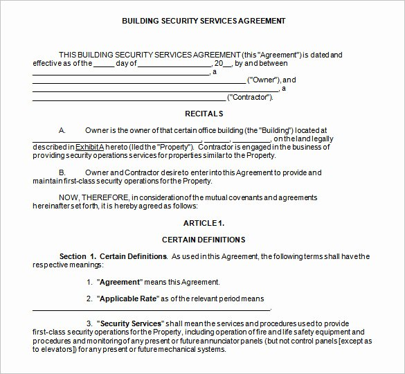 Security Guard Contract Template Lovely 12 Security Contract Templates Doc Pdf