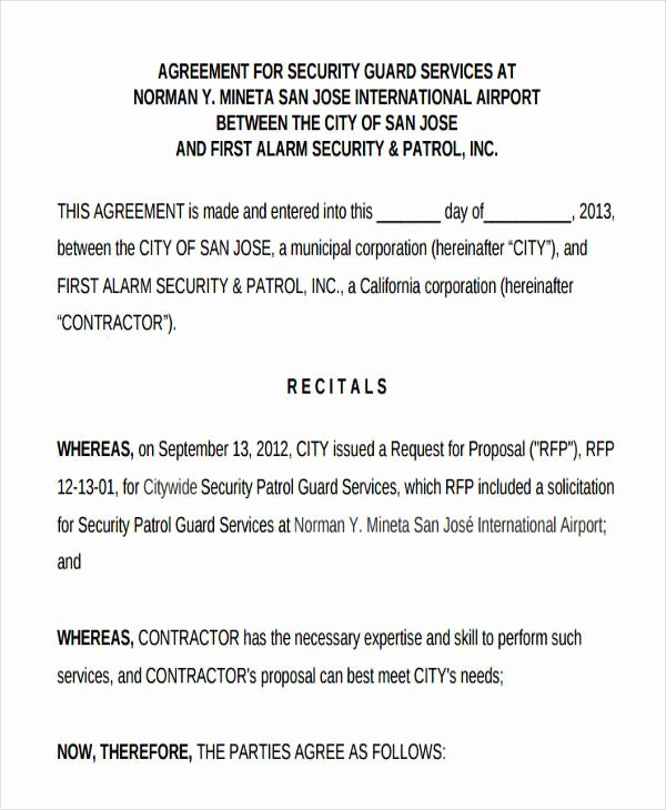 Security Guard Contract Template Luxury 30 Agreement forms In Pdf