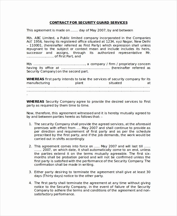 Security Guard Contract Template Luxury 35 Free Agreement forms