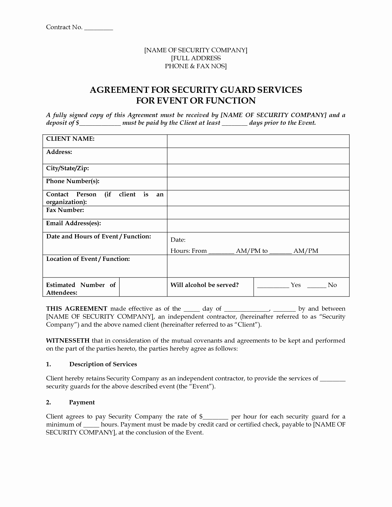 Security Guard Contract Template Luxury 8 Best Of event Security Guard Contract Agreement