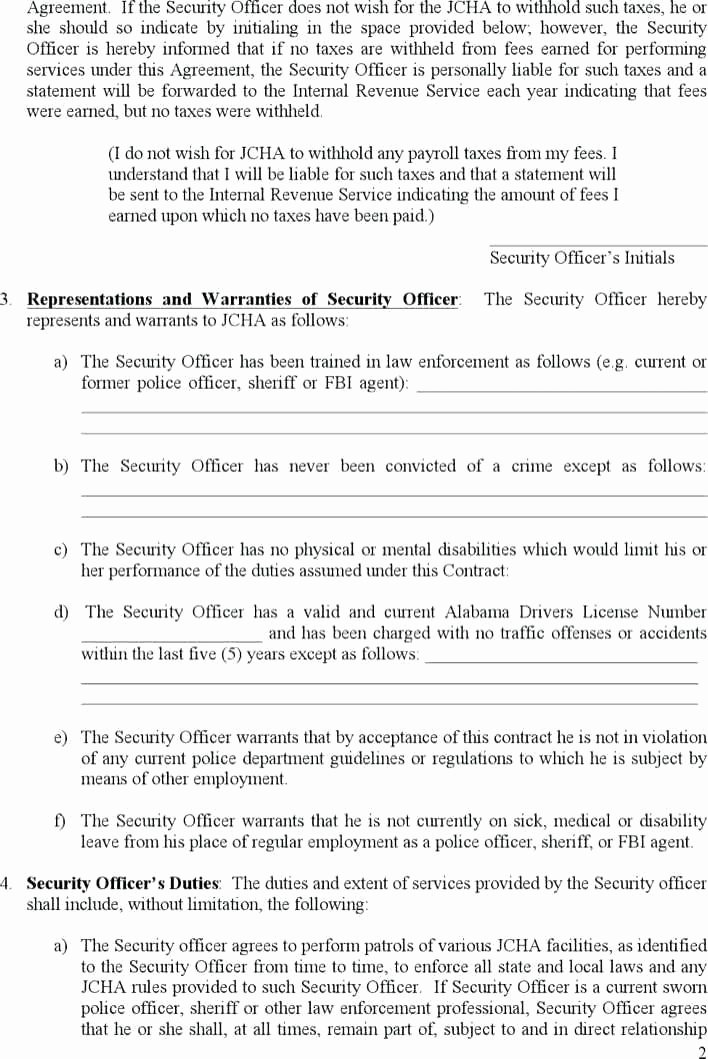 Security Guard Contract Template Luxury Security Guard Contract Agreement Template Beautiful Best