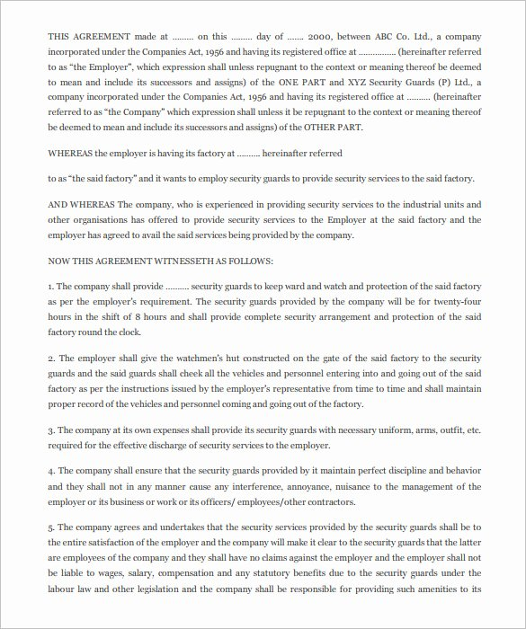 Security Guard Contract Template New 12 Security Contract Templates Doc Pdf