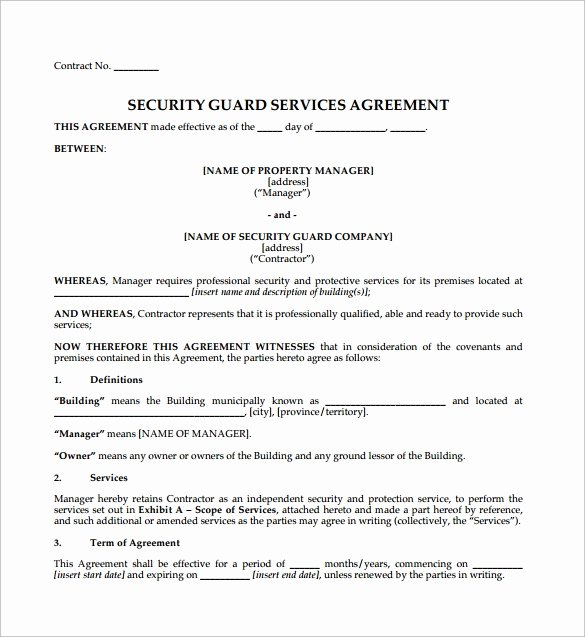 Security Guard Contract Template New Contract Agreement 9 Download Free Documents In Pdf Word