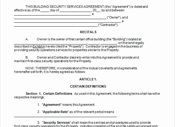 Security Guard Contract Template New Security Guard Service Contract Sample Termination Letter