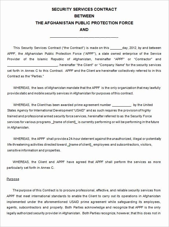Security Guard Contract Template Unique 12 Security Contract Templates Doc Pdf
