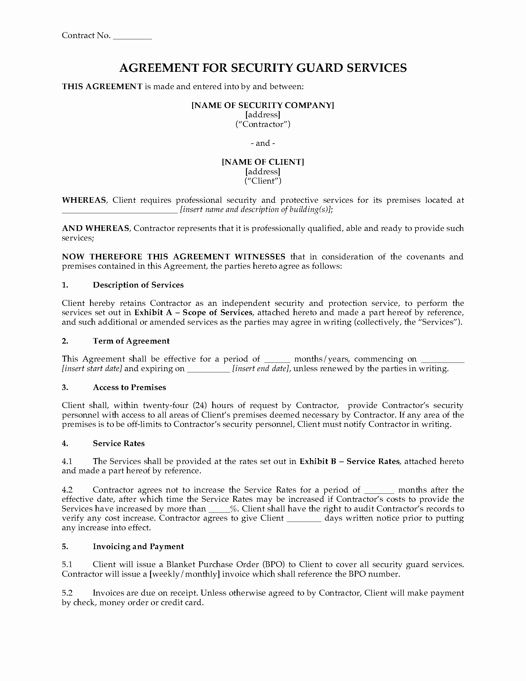 Security Guard Contract Template Unique Usa Security Guard Services Agreement