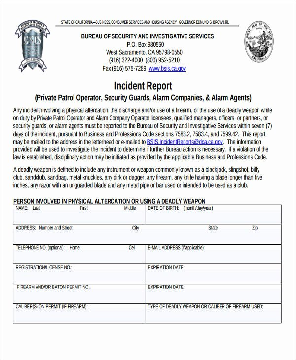 Security Guard Incident Report Template Beautiful 45 Incident Report formats