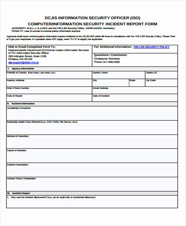 Security Guard Incident Report Template Inspirational Security Guard Incident Report