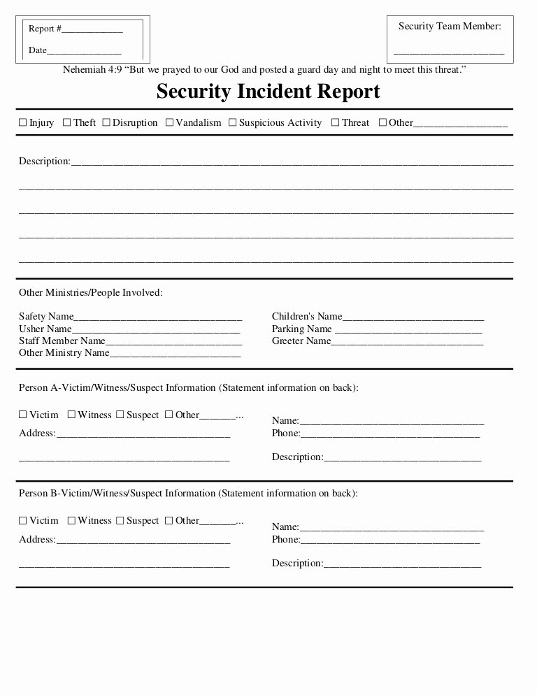 Security Guard Incident Report Template Luxury Security Incident Report