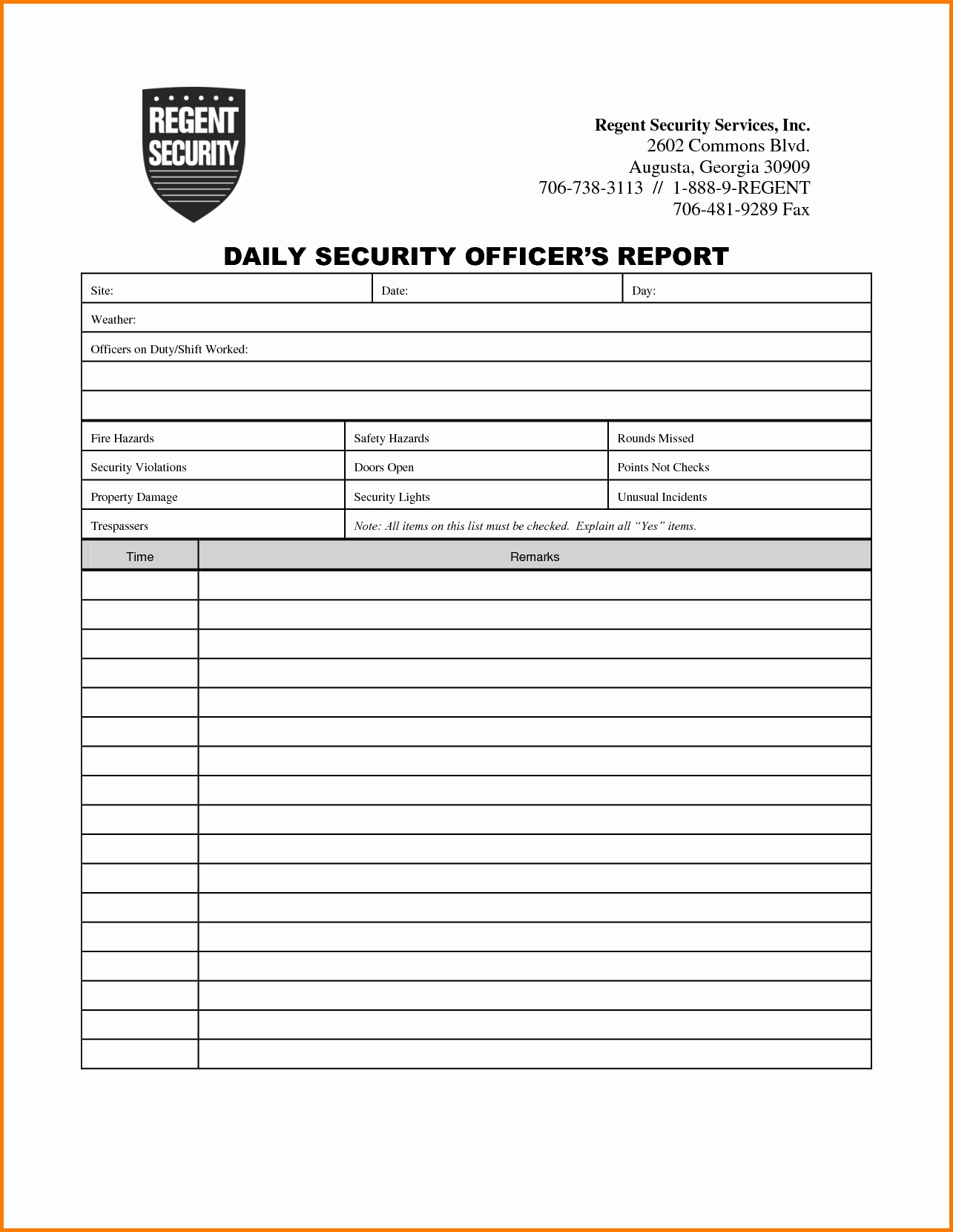 Security Guard Incident Report Template New Incident Report