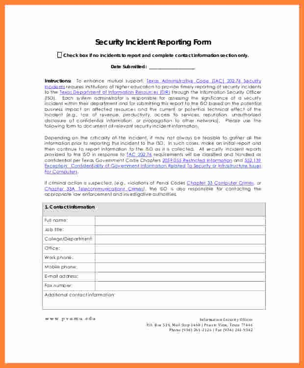 Security Incident Report Template Awesome 11 Information Security Incident Report Template