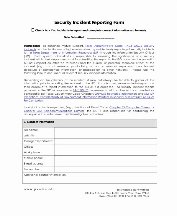Security Incident Report Template Beautiful 20 Sample Incident Report Templates Pdf Doc