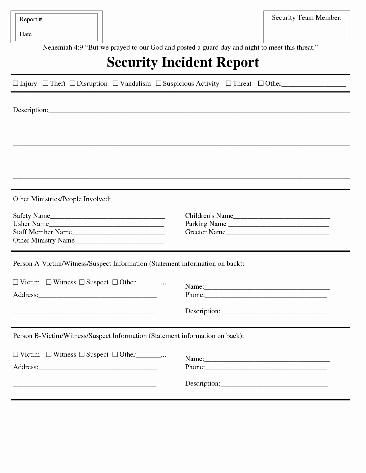 Security Incident Report Template Beautiful Premium Blank Security Incident Report Template Sample V