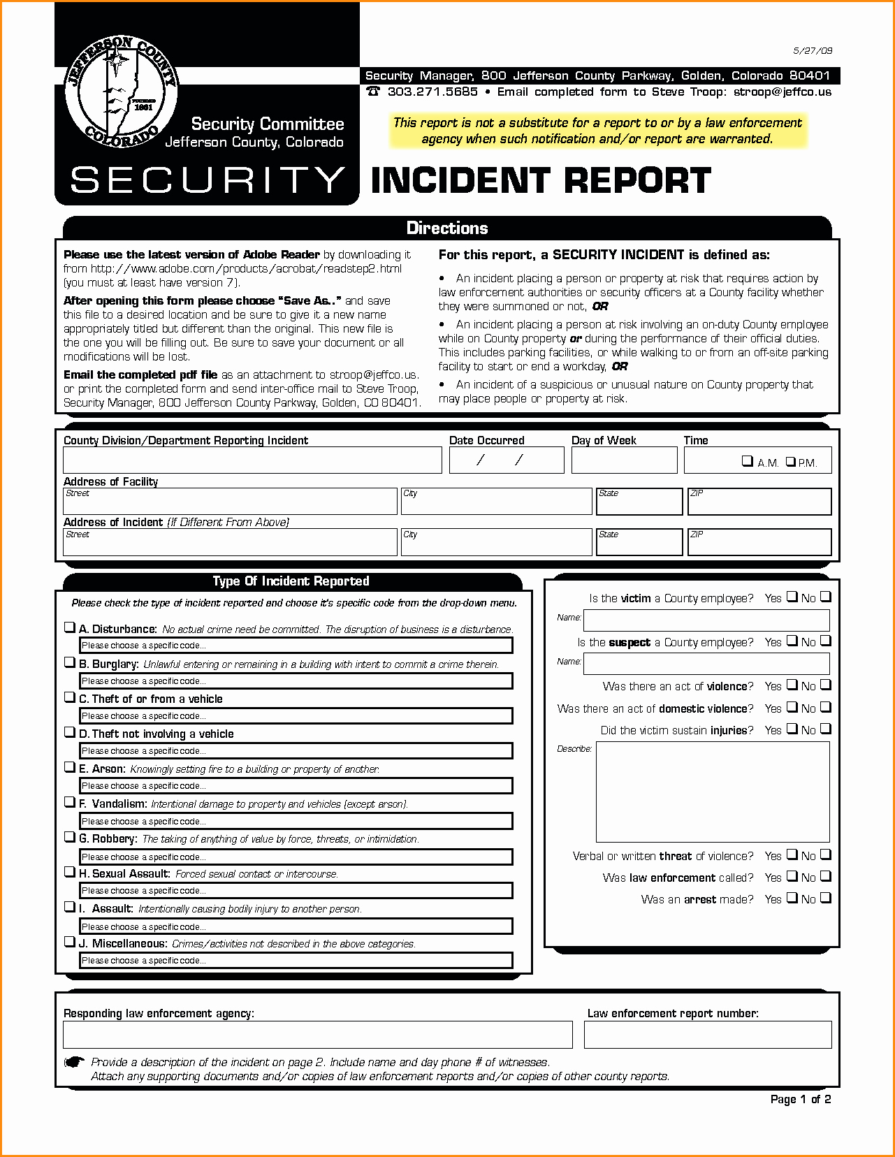 Security Incident Report Template Elegant Example Security Incidentort Injury form Template