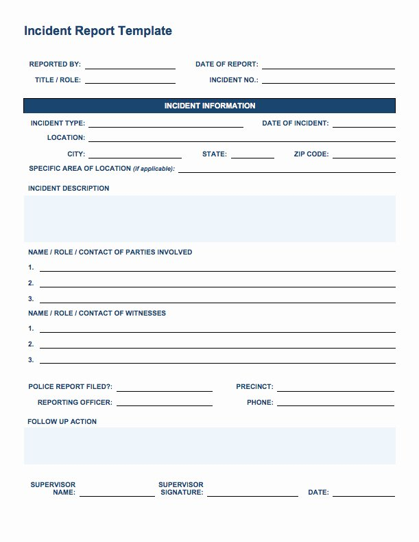 Security Incident Report Template Lovely Free Incident Report Templates Smartsheet
