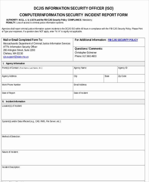 Security Incident Report Template Word Awesome 13 Sample Security Incident Reports – Pdf Word