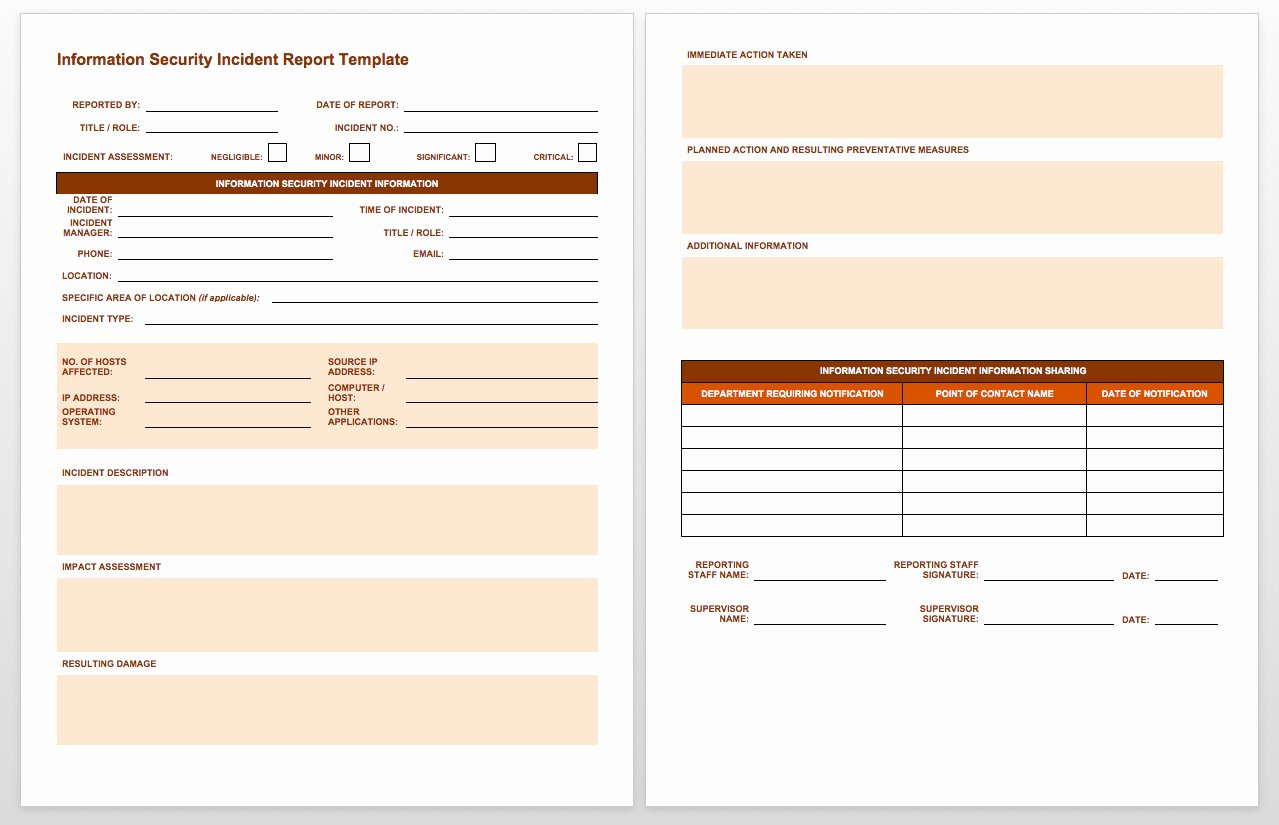 Security Incident Report Template Word Beautiful Free Incident Report Templates Smartsheet