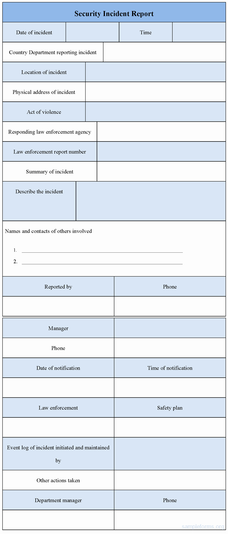 Security Incident Report Template Word Lovely Security Incident Report form Sample forms