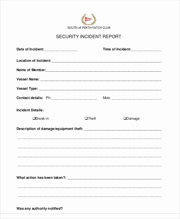 Security Incident Report Template Word Luxury 13 Sample Security Incident Reports – Pdf Word