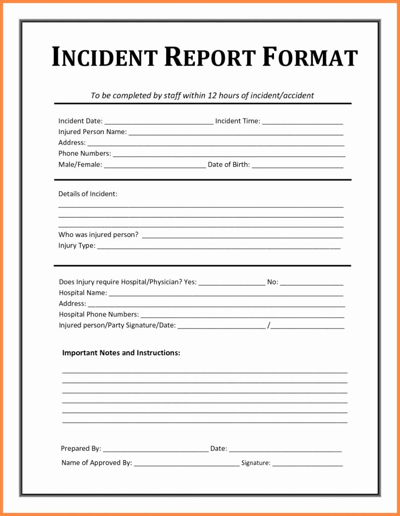 Security Incident Report Template Word Luxury Example Security Incidentort Injury form Template