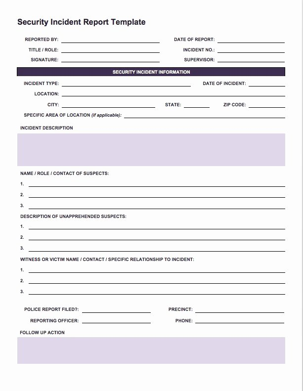 Security Incident Report Template Word Luxury Free Incident Report Templates Smartsheet
