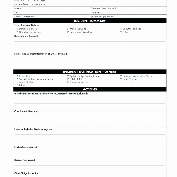Security Incident Report Template Word Luxury Security Incident Report form Information Template Sample
