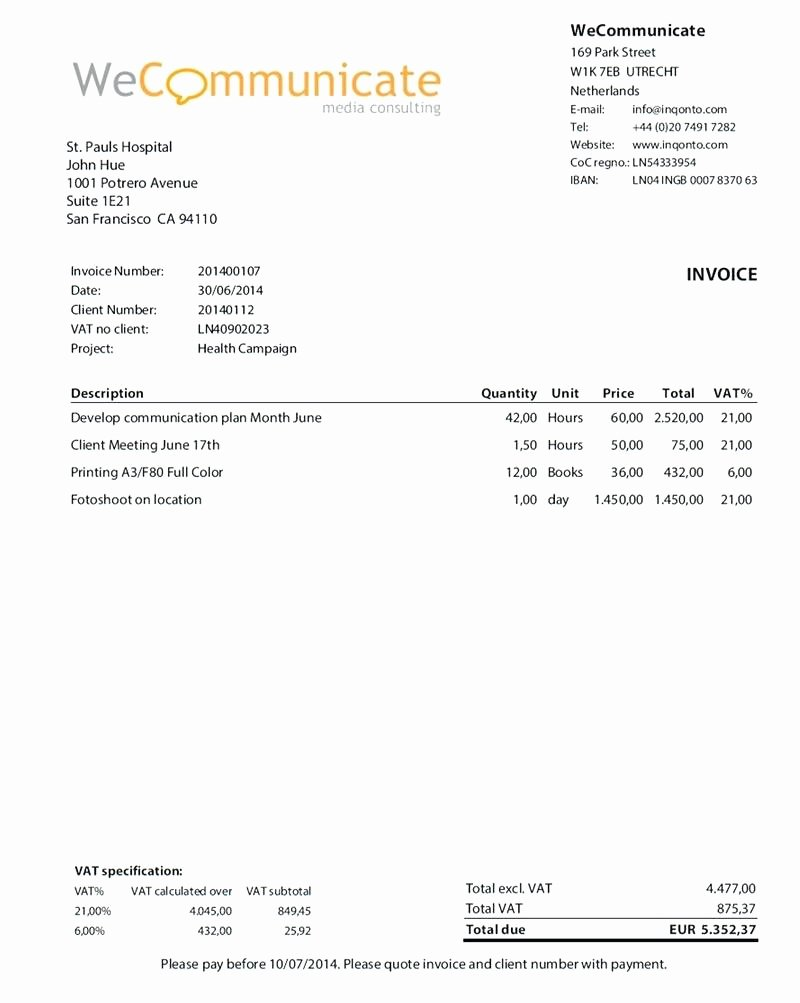 Self Employed Invoice Template Awesome Template Self Employed Invoice Template