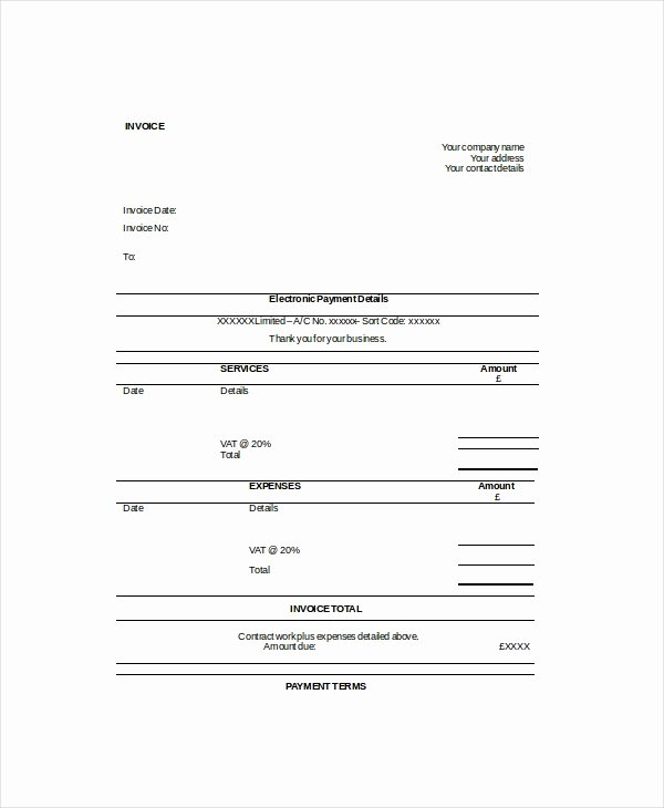 Self Employed Invoice Template Fresh Self Employed Invoice Template 11 Free Word Excel Pdf
