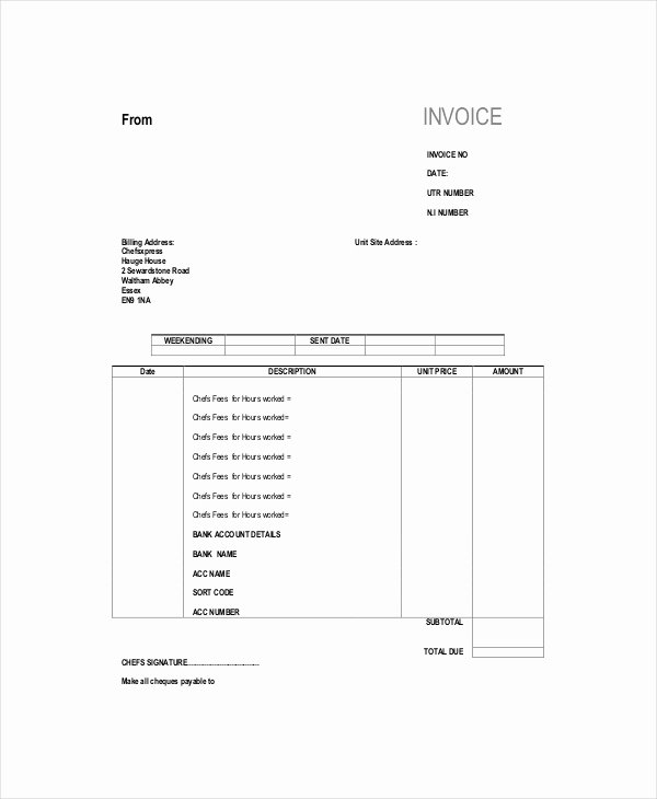 Self Employed Invoice Template Inspirational Self Employed Invoice Template 11 Free Word Excel Pdf