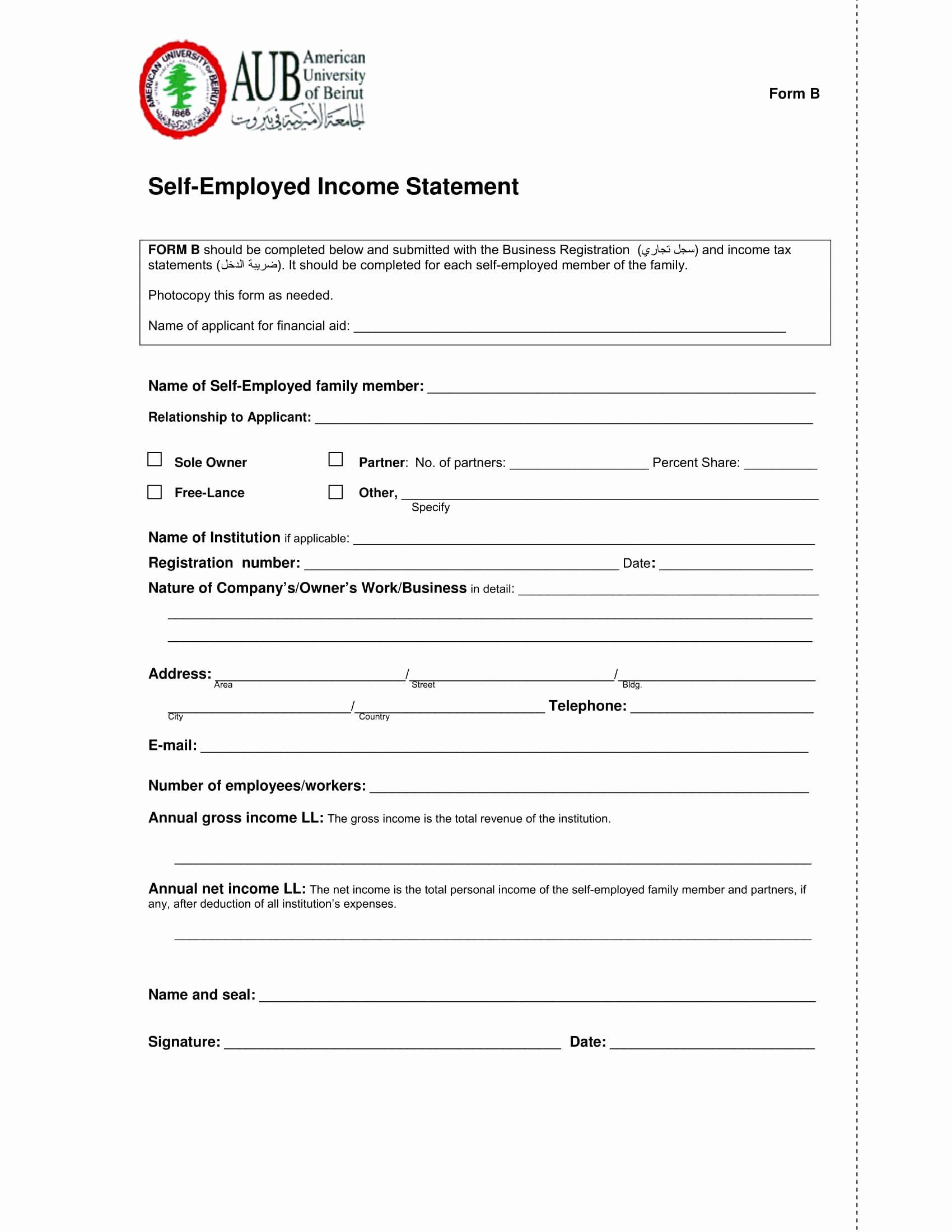 Self Employment Income Statement Template Awesome 29 In E Statement form Samples